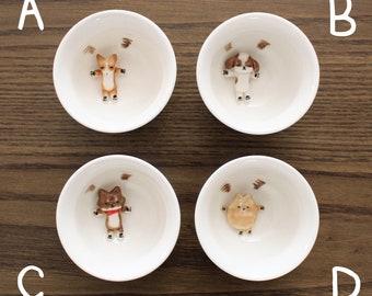 Handmade White Porcelain Dog Cup for Tea, Soju, and Sake