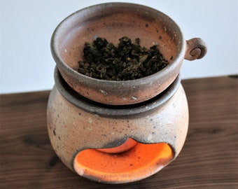 Handmade Korean Salt Glaze Ceramic Tea Roaster / Warmer