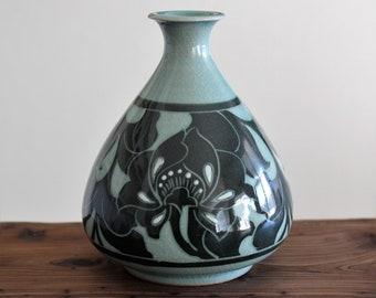 Handmade Korean Inlaid Dark Celadon (상감 청자) Ceramic Makkoli / Sake Bottle - Peony Flowers