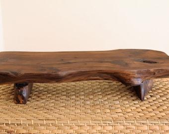 Handmade Korean Juniper Tree Rustic Wooden Stand for Tea Ceremony, Gong Fu Cha