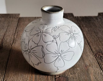 Handmade Korean Buncheong Jar, Vase - Wild Flowers
