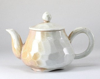 Handmade Korean Wood-Fired Natural Glaze Carved Ceramic Gaiwan Teapot, Gong Fu Cha, Tea Ceremony