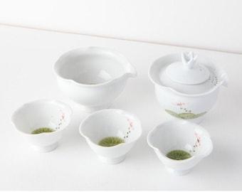 Handmade Korean Baekja White Porcelain Tea Set with Lotus Leaf Shape, Shiboridashi Teapot