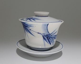 Handmade Hand-painted Korean Chunghwa Baekja White Porcelain Ceramic Teapot - Moon and Bamboo (월죽도)