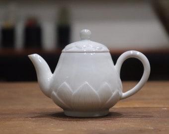 Handmade Korean Baekja White Porcelain Ceramic Teapot, Embossed Lotus Flower