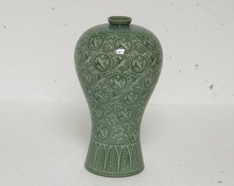 Handmade Korean Ceramic Inlaid Celadon (상감 청자) Mae Byung (매병) Jar, Goryeo, Traditional, Home Decor