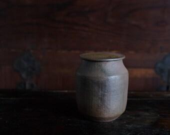 Handmade Korean Wood-Fired Ceramic Tea Caddy for Loose Tea Storage, 9.8 fl oz, Ceramic Tea Canister, Aging Jar, Gong Fu Tea