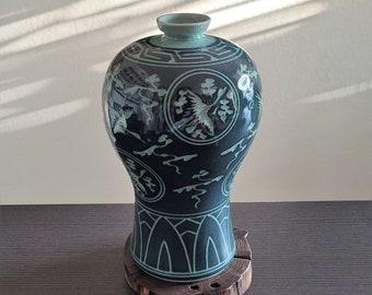 Handmade Korean Dark Inlaid Celadon Maebyeong Jar - Cranes and Clouds