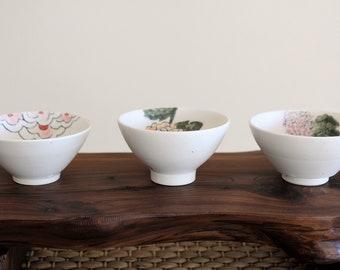 Handmade Hand-Painted Korean Matte Baekja Floral Teacup