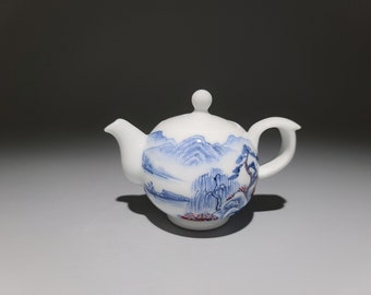 Handmade Korean Chunghwa Baekja White Porcelain Ceramic Teapot - Spring River