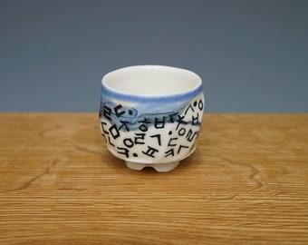 Handmade Hand-Painted Korean Baekja White Porcelain Tea Cup with Korean Characters, Chunghwa, Gong Fu Cha, Tea Ceremony