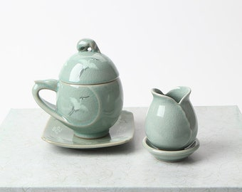 Handmade Korean Crane Egg-Shaped Celadon Tea Set for 1 with Gift Box, Clouds, Teacup with Strainer, Infuser, Gong Fu Cha, Ceramic