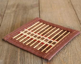 Handmade Bamboo Coaster for Tea Ceremony, Gong Fu Cha