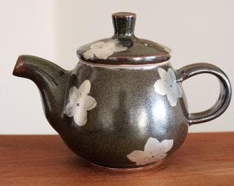 Handmade Korean Shimmery Black Glaze Ceramic Teapot with Flower Patterns