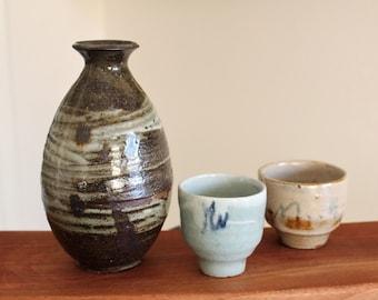 Handmade Wood-fired Korean Ceramic Sake Set for 2