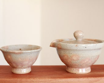 Handmade Korean Buncheong Ceramic Tea Set for 1 with Autumn Leaf Pattern, Shiboridashi, Gaiwan, Gong Fu Cha, Tea Ceremony