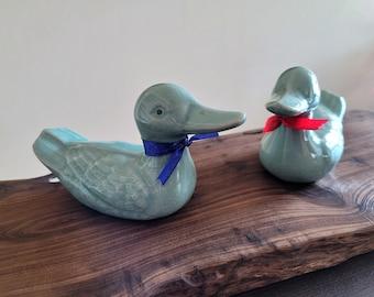 Handmade Korean Celadon Ceramic Geese, Home Decor, Wedding Gift by Master Potter Hyo Chun