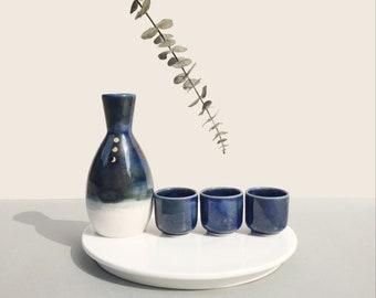 Handmade Korean Baekja White Porcelain Sake Set - Moon, Pitcher & Cups, Soju, Makkoli