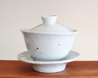 Handmade Wood-Fired Korean Baekja White Porcelain Ceramic Gaiwan Teapot