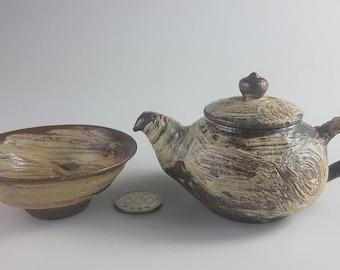 Handmade Korean Gwiyal (Hakeme) Buncheong Tea Pot & Tea Cup Set