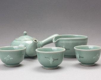 Handmade Korean Celadon Tea Set for 3 with Gift Box - Clouds and Cranes, Kyusu Teapot