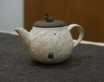 Handmade Korean Dumbung Buncheong (덤벙 분청) Ceramic Teapot - Moon Rabbit