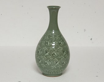 Handmade Korean Ceramic Inlaid Celadon (상감 청자) Joo Byung (주병) Bottle - Cranes and Clouds
