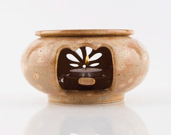 Handmade Korean Buncheong Ceramic Tea Warmer Set with Autumn Leaf Pattern, Gong Fu Cha, Tea Ceremony