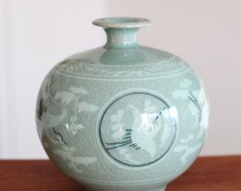 Handmade Korean Inlaid Celadon (상감 청자) Hang Go (행고) Ceramic Jar - Cranes & Clouds