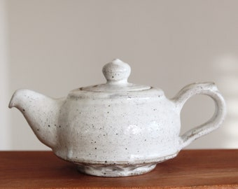 Handmade Wood-Fired Korean Dumbung Buncheong Ceramic Teapot - Lotus Flower