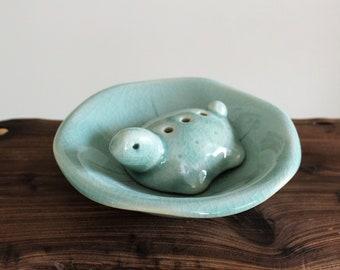 Handmade Korean Celadon Ceramic Incense Holder, Burner, Plate Set - Turtle