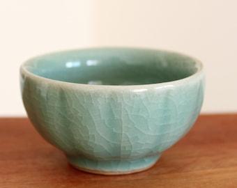 Pumpkin - Handmade Korean Celadon Ceramic Teacup/Sake cup, Gong Fu Cha, Tea Ceremony