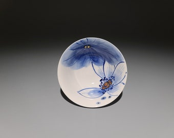 Handmade Korean Chunghwa Baekja White Porcelain Teacup - Golden Lotus