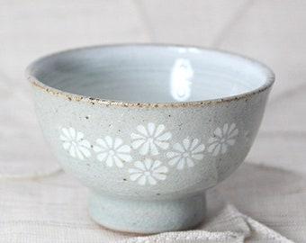 Handmade Korean Inlaid Gwiyal (Hakeme) Buncheong Teacup / Sake Cup with Chrysanthemum Flower Pattern, Gong Fu Cha