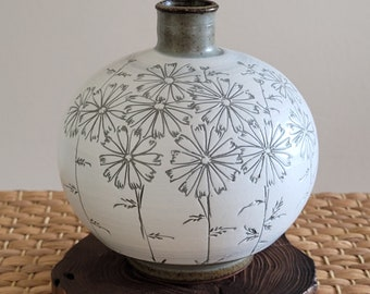 Handmade Korean Buncheong Jar, Vase - Cosmos Flowers