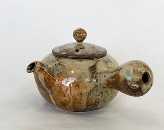 Handmade Korean Charcoal-Fired Ceramic Dumbung Buncheong Teapot, Kyusu, Gong Fu Cha, Tea Ceremony