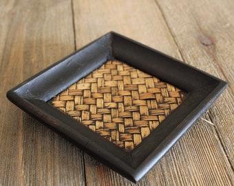 Handmade Wood and Bamboo Coaster for Tea Ceremony, Gong Fu Cha