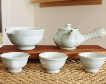 Handmade Korean Feldspar-Glazed Ceramic Tea Set for 3 with Gift Box, Kyusu Teapot