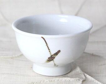 Handmade Korean Chulhwa (Iron-Painted) Baekja White Prcelain Teacup / Sake Cup with Bamboo Leaf Pattern