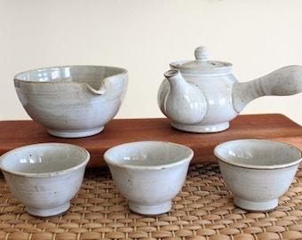 Handmade Korean White-Glazed Buncheong Tea Set for 3, Kyusu Teapot, Gong Fu Tea