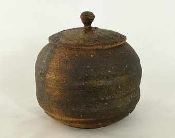 Handmade Korean Charcoal-fired Black Clay Tea Caddy for Loose Leaf Tea Storage, Ceramic Tea Canister, Aging Jar, Gong Fu Tea