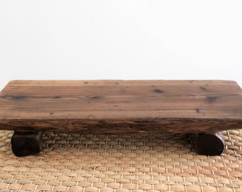 Handmade Korean Juniper Tree Rustic Wooden Stand with Uneven Legs for Tea Ceremony, Gong Fu Cha
