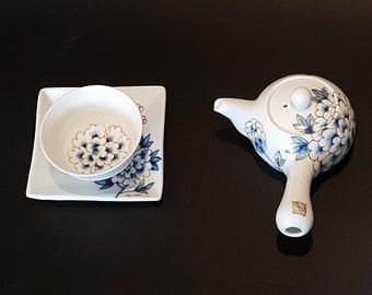 Handmade Korean Baekja Porcelain Hand-Painted Peony Flower Tea Set, Kyusu Teapot, Tea Cup, & Saucer, Gong Fu Cha