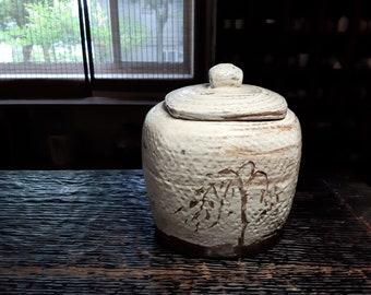 Handmade Wood-Fired Korean Gwiyal (Hakeme) Buncheong Tea Caddy for Loose Tea Storage, Ceramic Tea Canister, Aging Jar, Gong Fu Tea