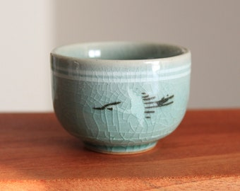 Handmade Korean Celadon Tea Cup / Sake Cup with Cranes and Clouds, Gong Fu Cha