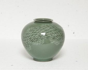 Handmade Korean Ceramic Inlaid Celadon (상감 청자) Moon Jar - School of Fish (Medium)