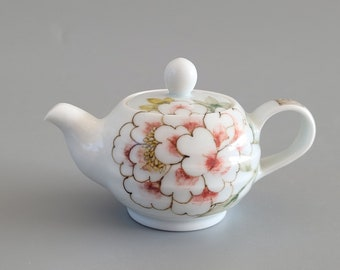 Handmade Korean Baekja Porcelain Hand-Painted Peony Flower Teapot, Small
