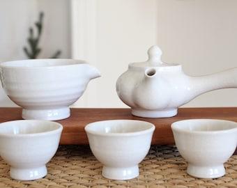 Handmade Korean Boon Baekja White Porcelain Tea Set, Kyusu Teapot