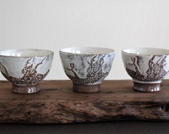 Handmade Wood-fired Korean Buncheong Teacup - Dragon & Clouds