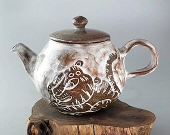 Handmade Wood-Fired Korean Buncheong Tea Pot - Dragon & Tiger